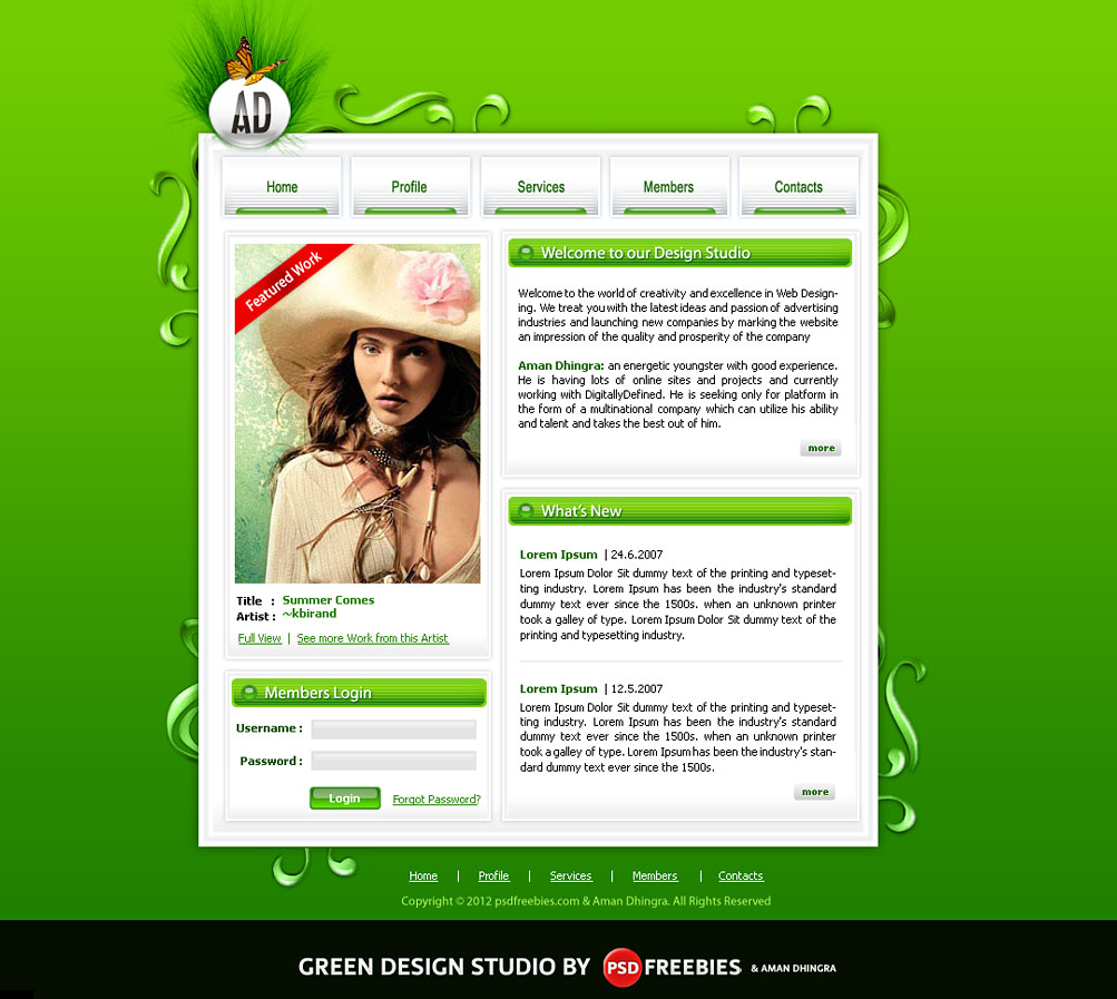 green design studio psd template psdfreebies com