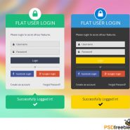 Flat Login Form PSD
