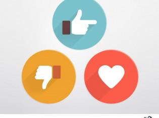 Flat Style Like And Dislike Social Icons PSD