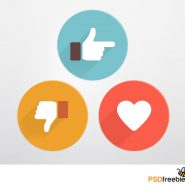 Flat Style Like and Dislike Social Icons PSD