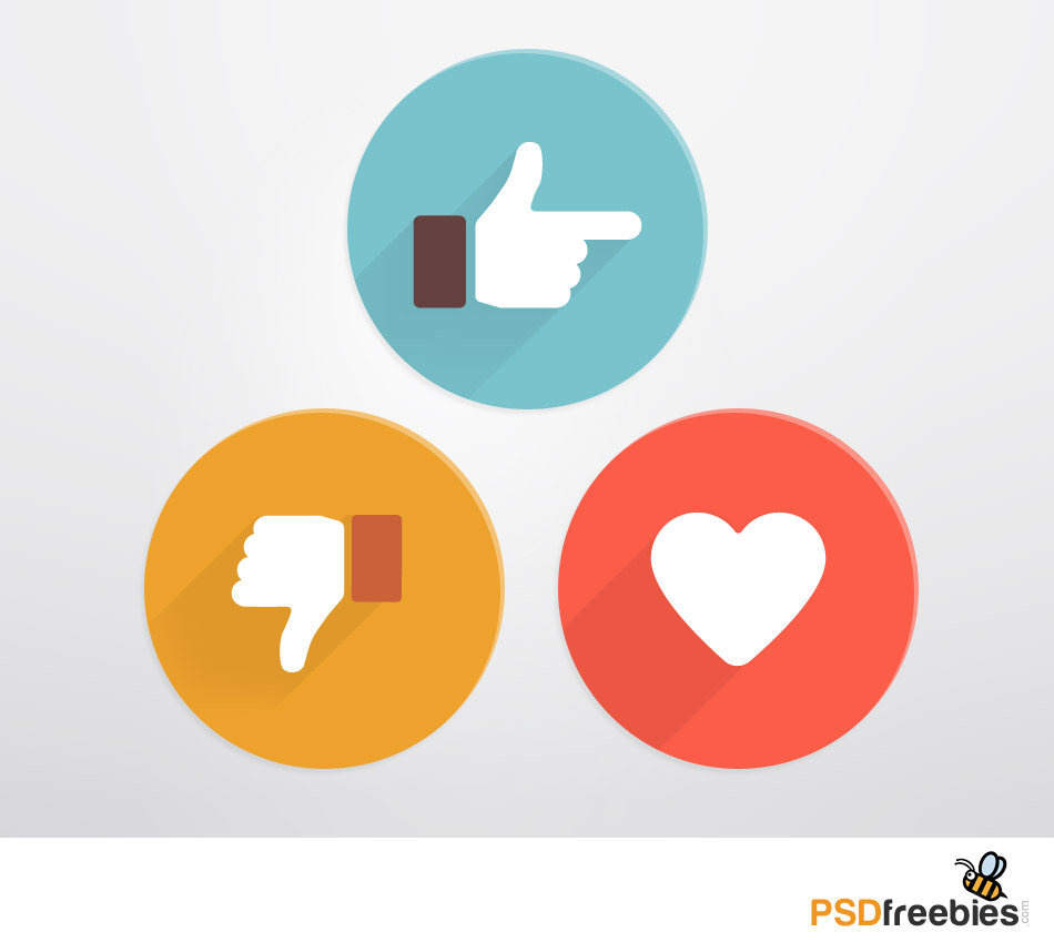 Flat Style Like And Dislike Social Icons Psd Psdfreebies
