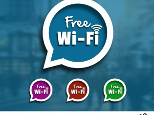 Speech Bubble With Free WIFI Sign PSD