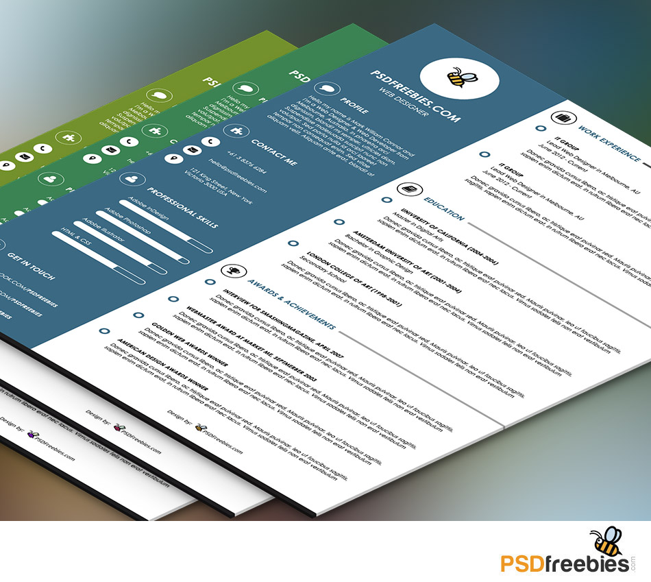 Resume Graphic Resumes Templates graphic designer resume template psd psdfreebies com psd