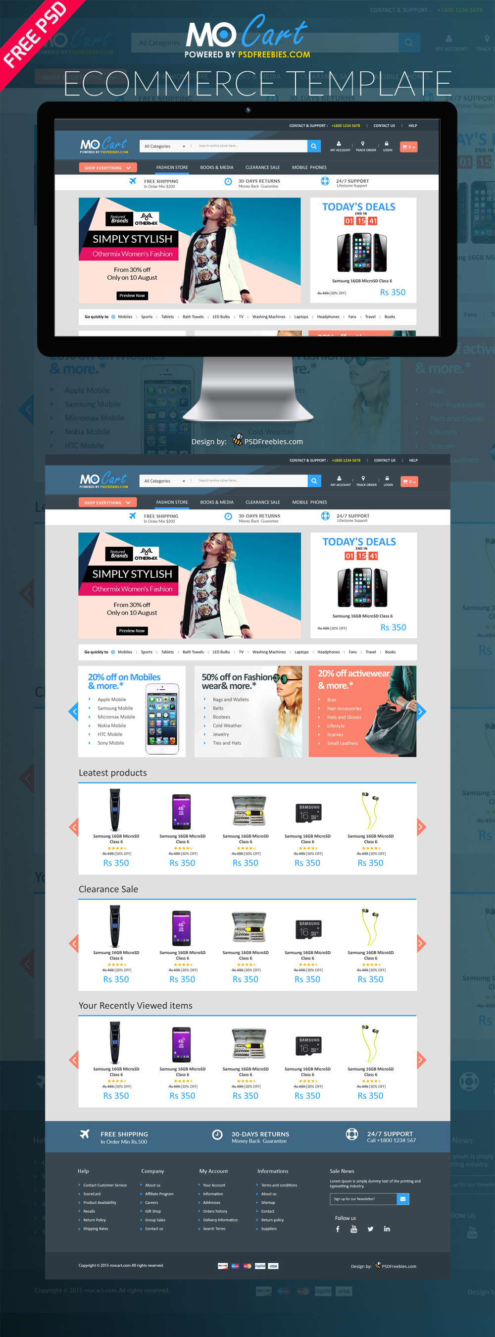 Mocart e commerce website psd template for E commerce sites templates