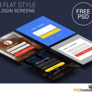 4 Flat Style Login Screens PSD