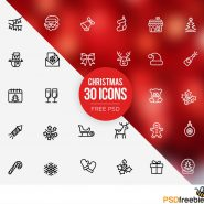 30 Christmas icons set Free PSD