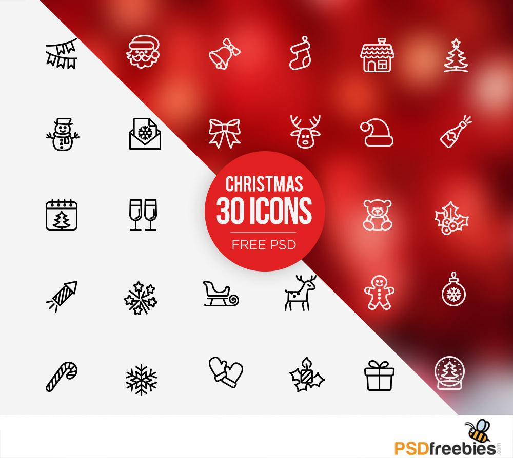 Christmas 30 Icons Free Psd