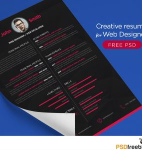 Free Creative resume for Web Designer PSD