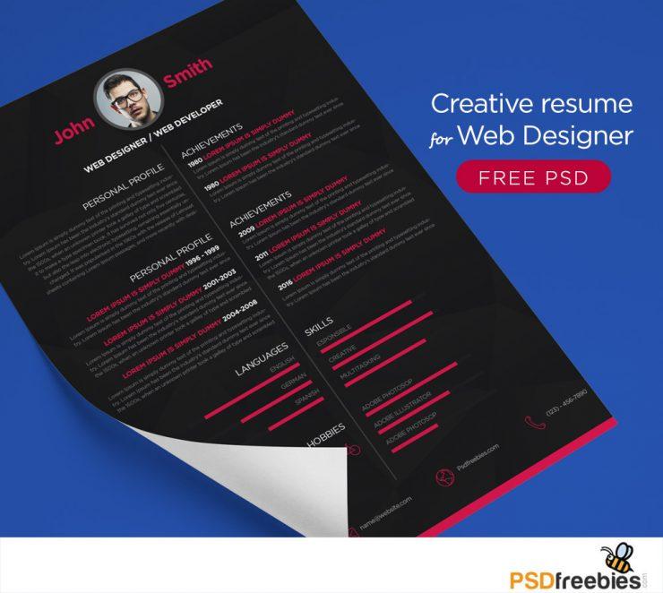 Free Creative resume for Web Designer PSD