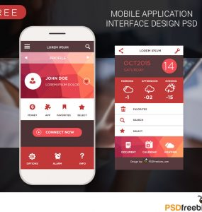 Mobile application interface design PSD