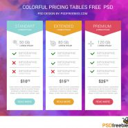 Colorful Pricing Tables Free PSD