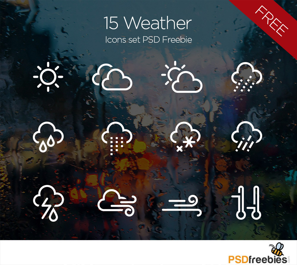 15 Weather Icons Set PSD Freebie