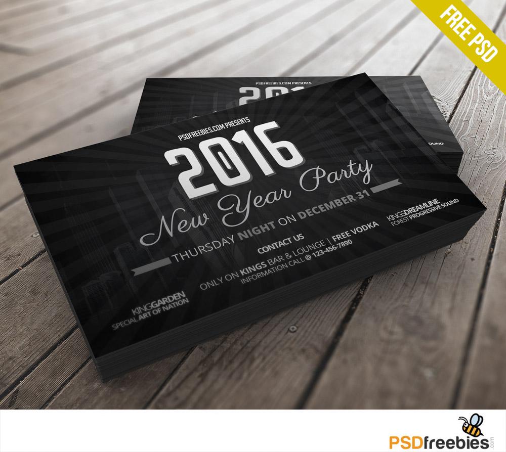 2016 New Years Party invitation card Free PSD - PSDFreebies.com ...