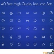 40 Free High Quality Line Icon Set PSD
