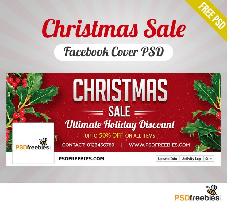 Christmas Sale Facebook Cover PSD Freebie