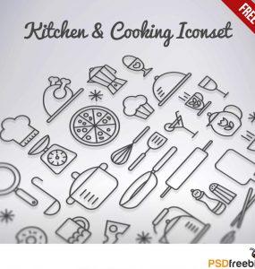 Kitchen & Cooking Iconset Free PSD