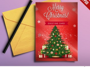 Christmas Greeting Card Free PSD