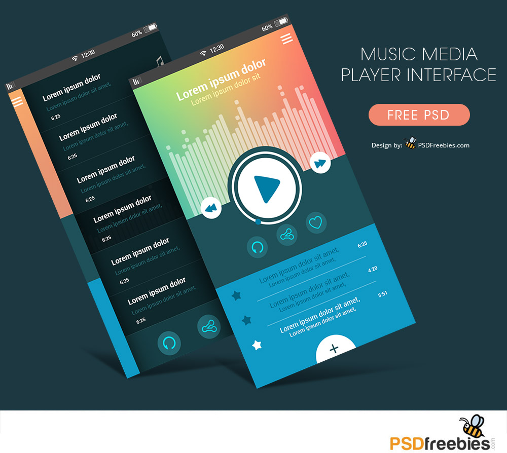 Music Media Player App Interface Free PSD : PSDFreebies.com