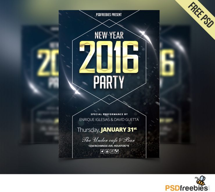 New Year Party Flyer Free PSD