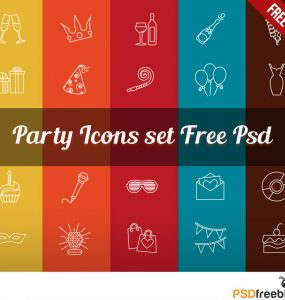 Party Icons set Free Psd