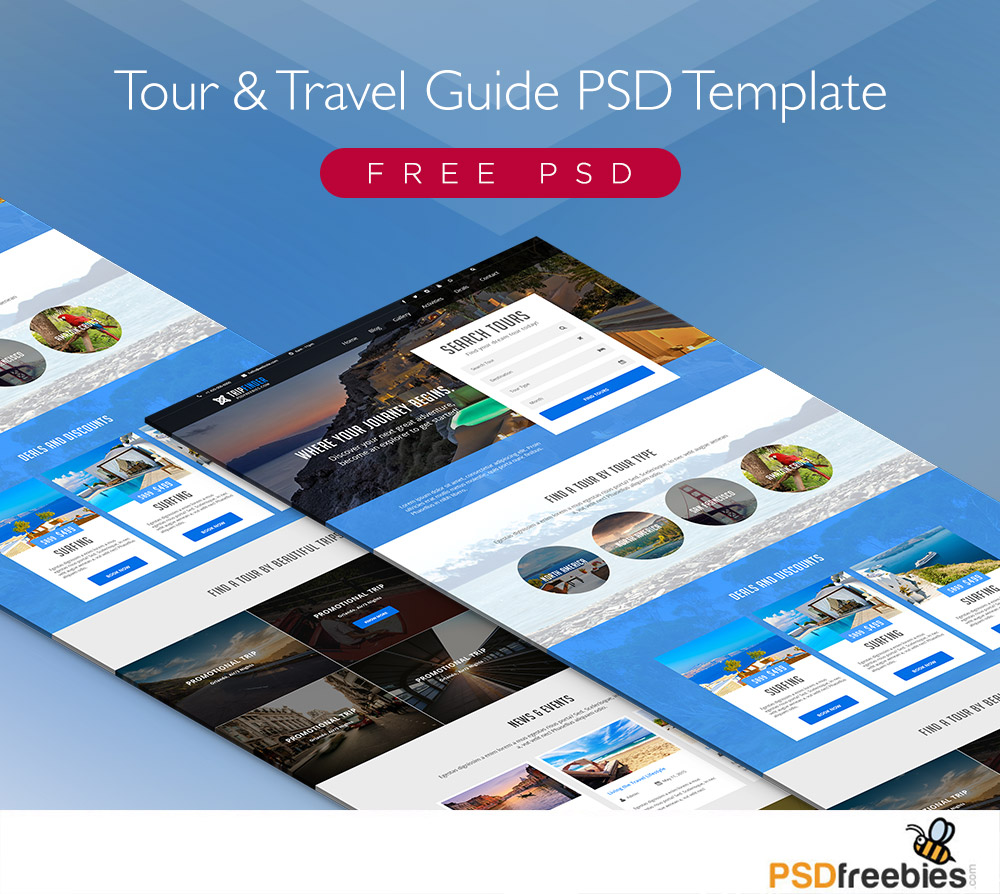 Free Tour and Travel Guide PSD Template | PSDFreebies.com