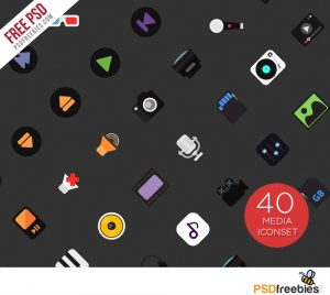 40 Music and Media Iconset Free PSD