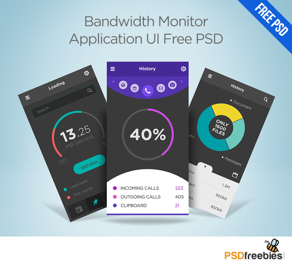 Bandwidth Monitor Application UI Free PSD