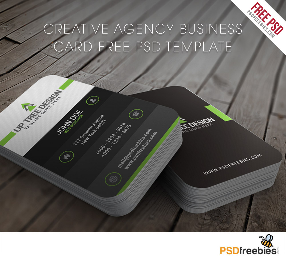 Creative agency business card free psd template for Free business card templates psd
