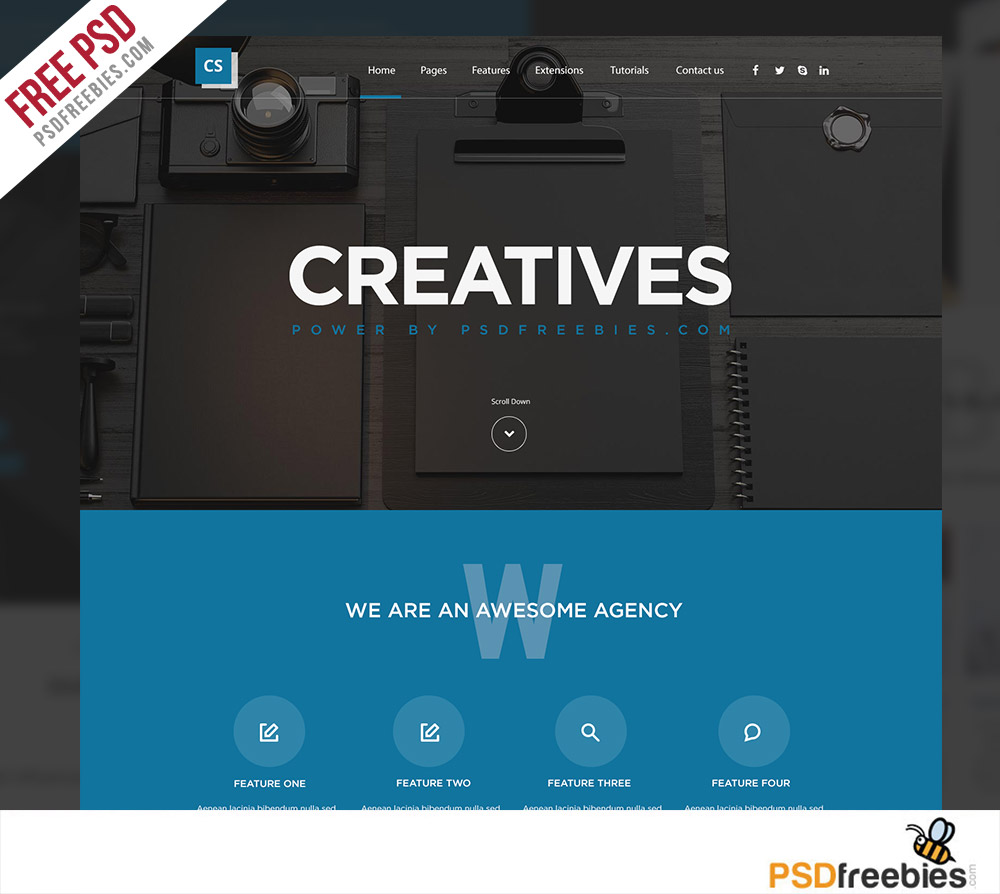 free mobile site template download - creative digital agency website template free psd