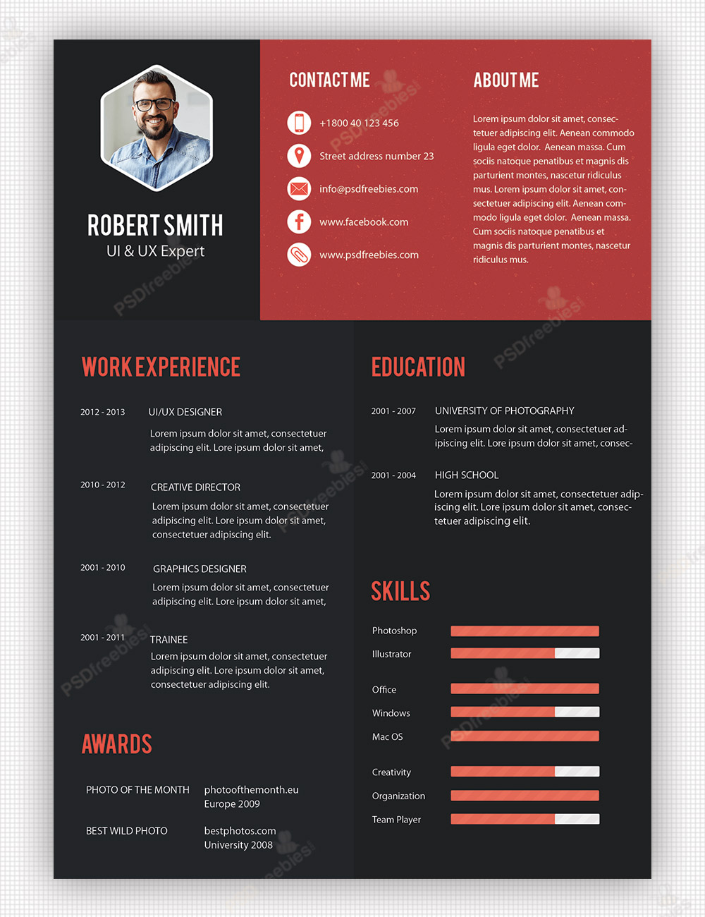 Creative Professional Resume Template PSD big - Great free creative resume template (psd id)