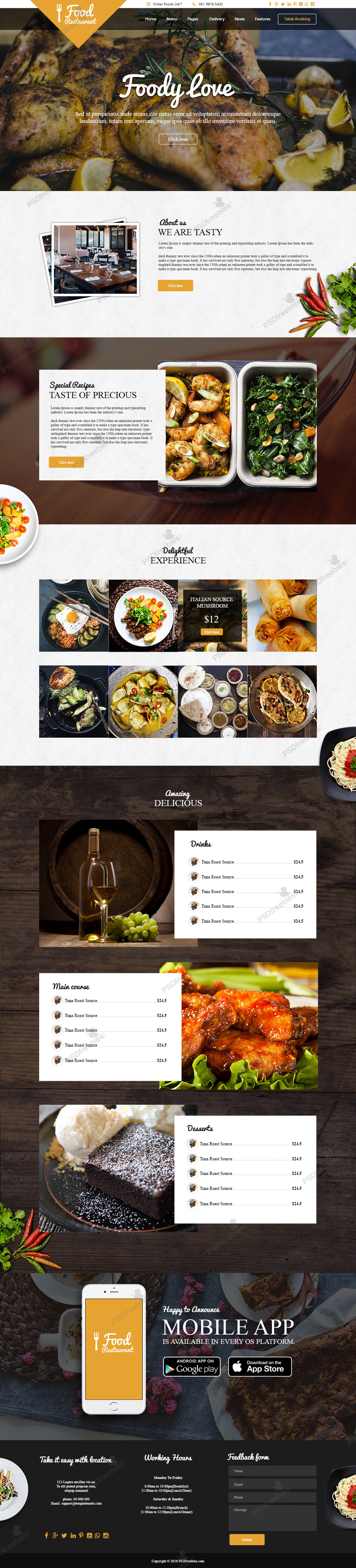 Food And Restaurant Website Free Psd Template Psdfreebies