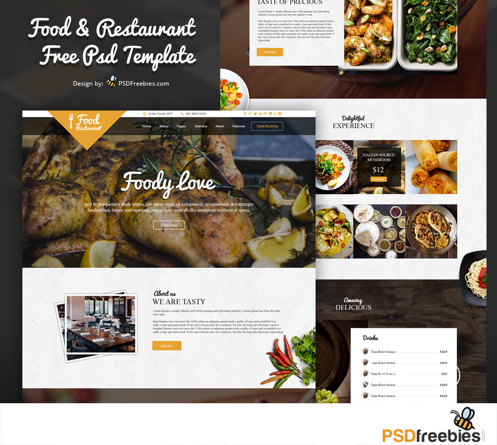Food and restaurant website free psd template