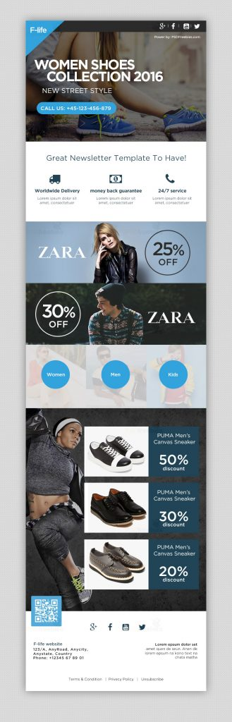 Fishon sale e-mailer psd template