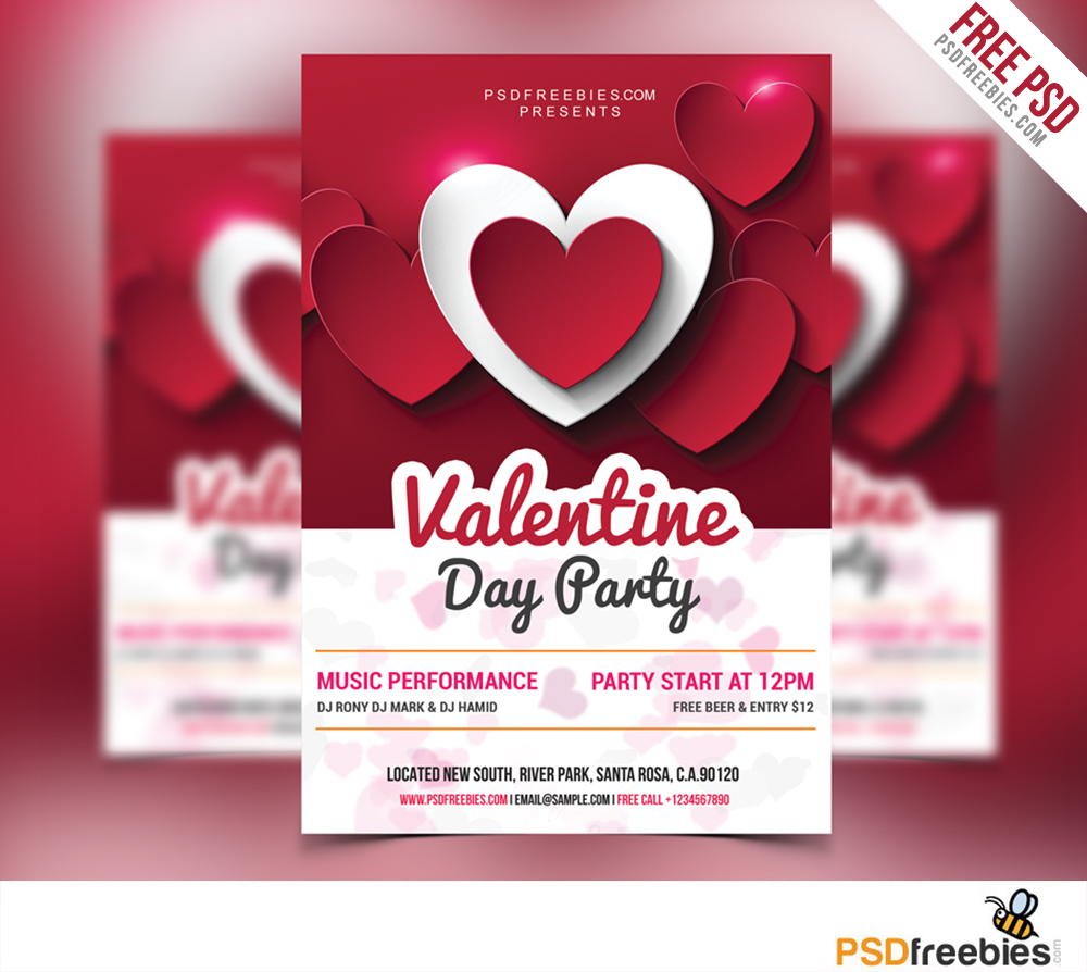 valentine day party flyer free psd. Black Bedroom Furniture Sets. Home Design Ideas