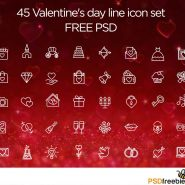 40+ Valentine day line icon set Free PSD