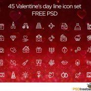 40+ Valentine day line icon set Free PSD