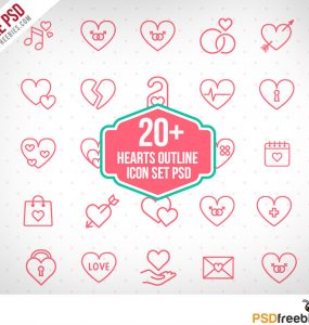 20+ Hearts Outline icon set PSD
