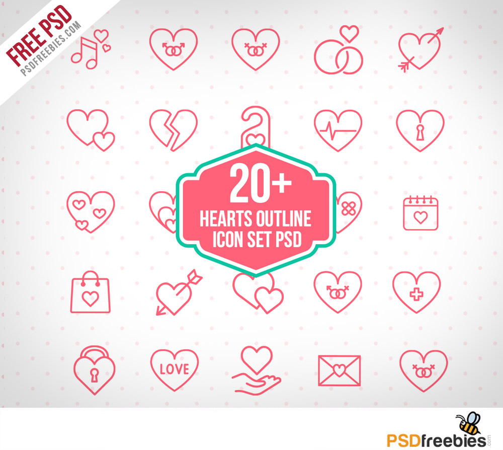 20 Hearts Outline Icon Set PSD