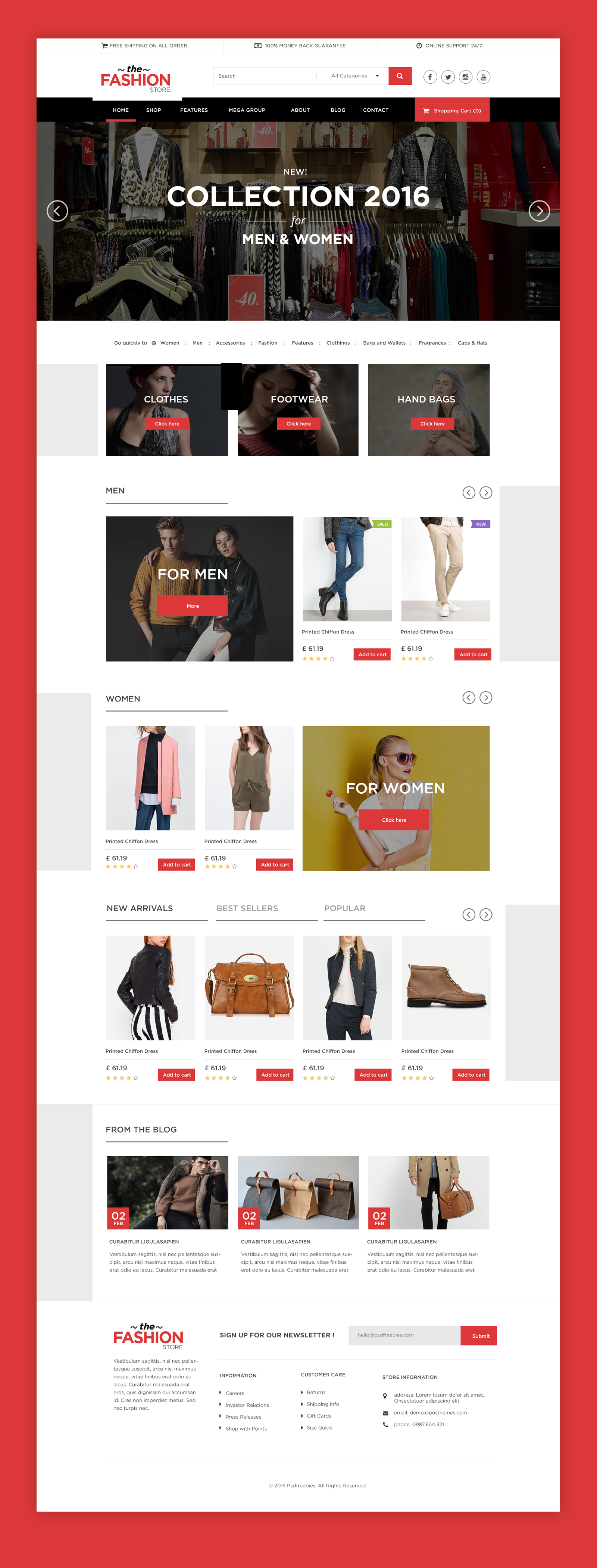 Multipurpose eCommerce Website free PSD Template | PSDFreebies.com