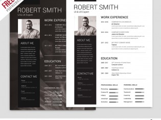 Simple And Clean Resume Free PSD Template