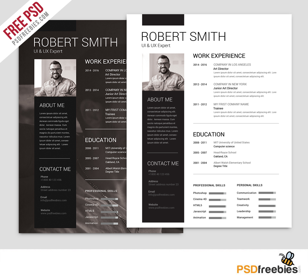 simple and clean resume free psd template - psdfreebies com