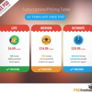Subscription Pricing Table UI Template Free PSD