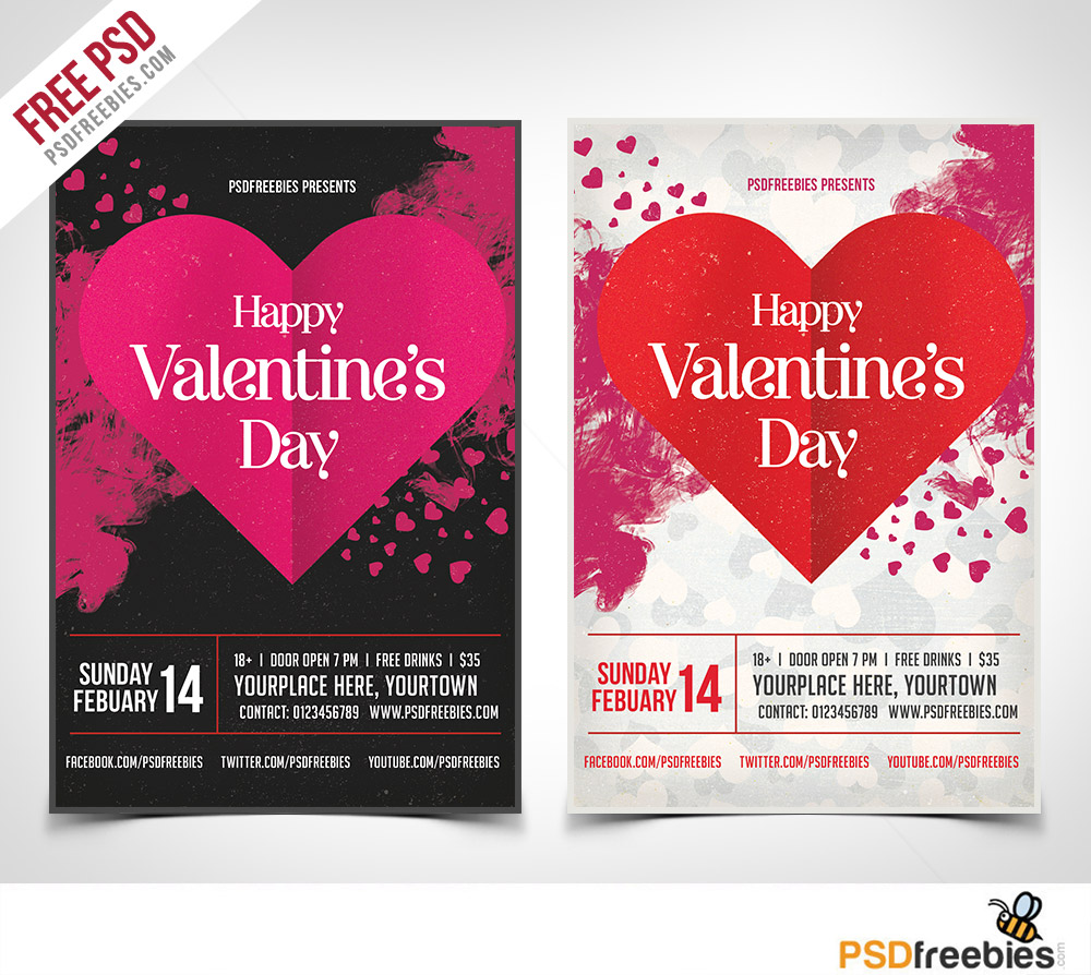 Valentines Party Flyer PSD Template Freebie