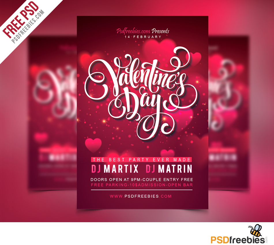 free valentines party flyer psd template psdfreebies com