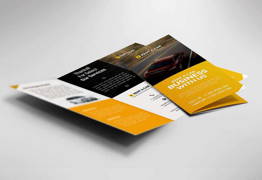 Car dealer and services trifold brochure free psd for Free psd brochure template