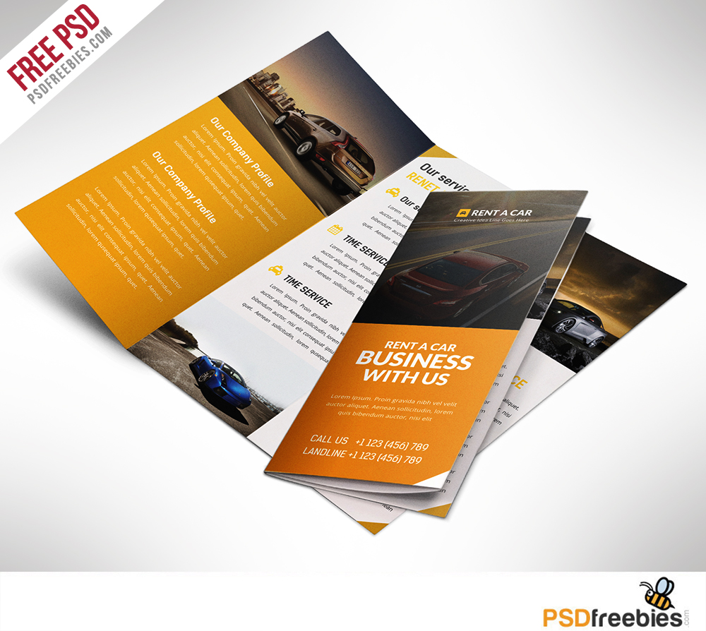 brochure design templates free download psd - car dealer and services trifold brochure free psd