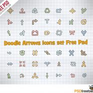 Doodle Arrows Icons set Free PSD
