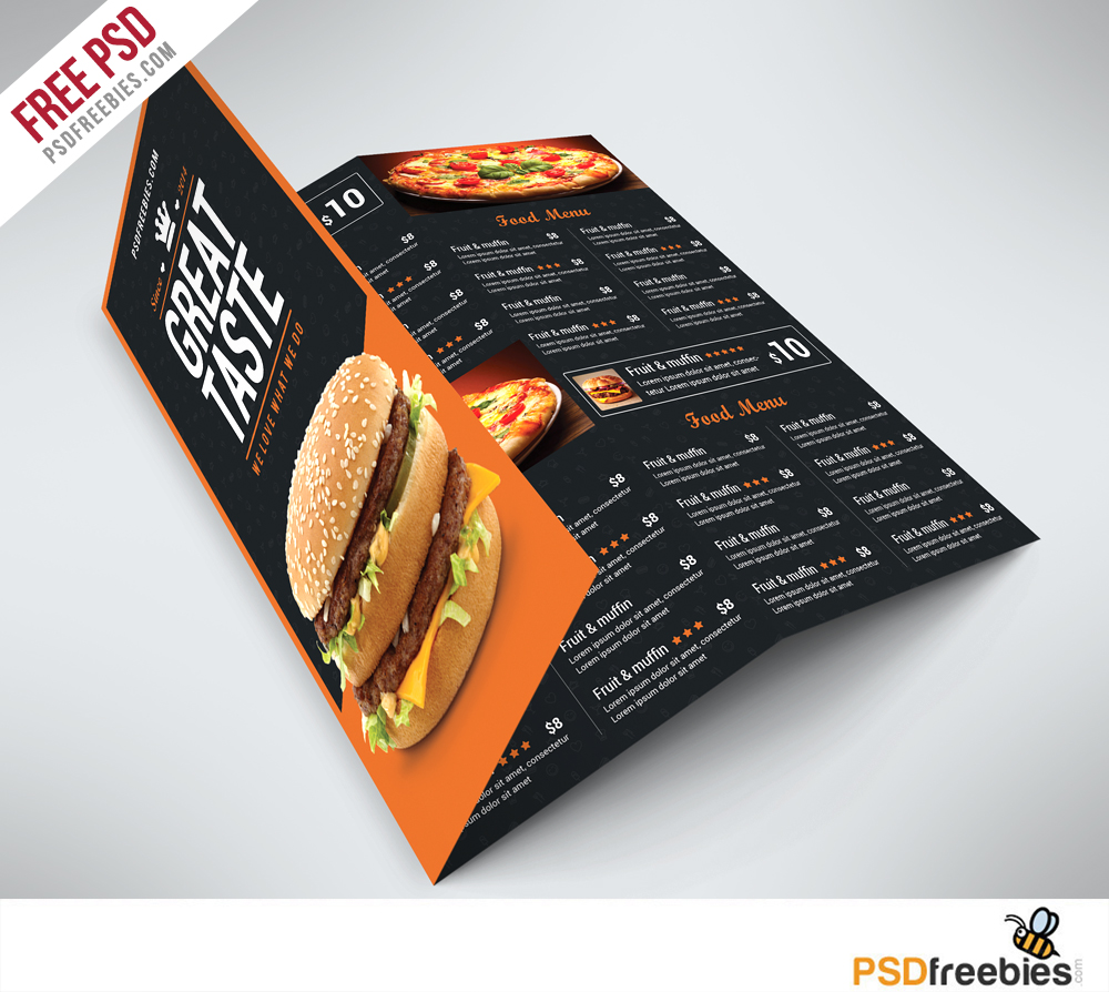 Fast food menu trifold brochure free psd for Free brochure psd templates download