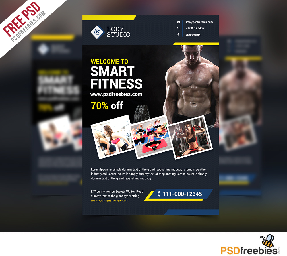 fitness or gym flyer template free psd. Black Bedroom Furniture Sets. Home Design Ideas