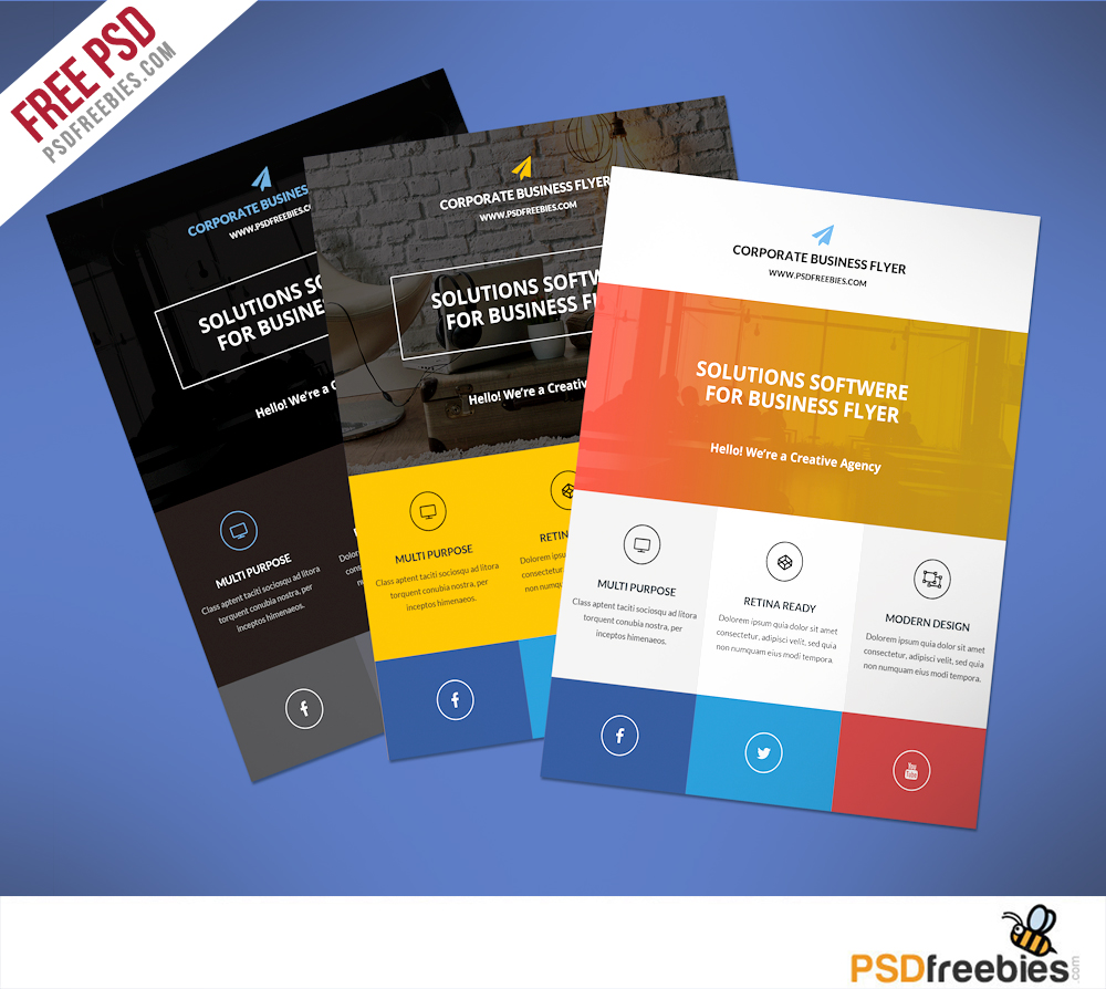 Flat Clean Corporate Business Flyer Free Psd Psdfreebies